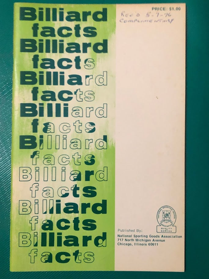 1975 Billiard Facts & Rule Book by National Sporting Goods Association