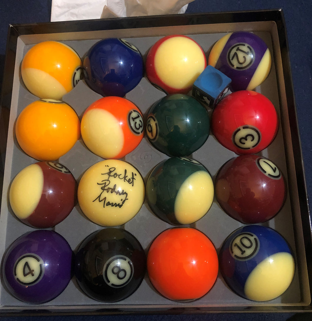 Autographed Pool Ball Set Used in IPT World Open Final- Signed by Efren Reyes and Rodney Morris