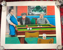 "Load image into Gallery viewer, Original Serigraph ""Pool Hall"" by David Azuz c.1980"