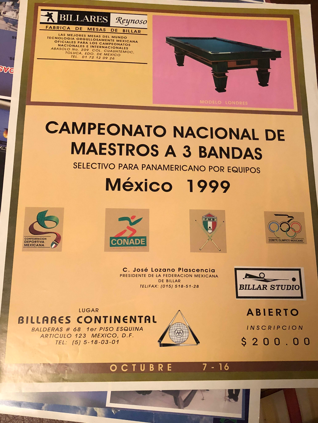 1999 National 3-Cushion Billiards Championship Mexico