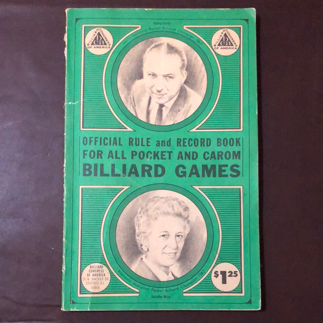 Official Rule Book. Billiard Congress of America. Revised 1968 Edition