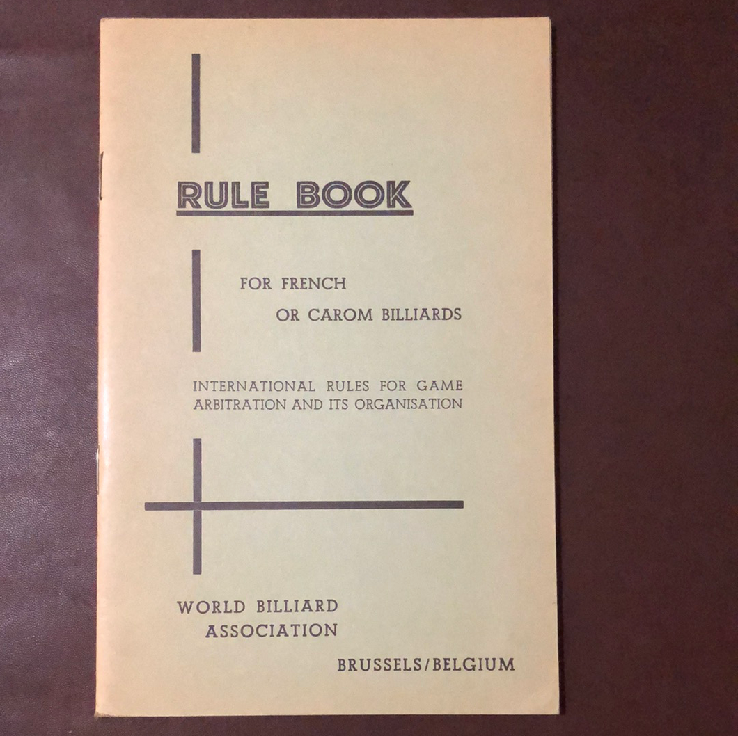 Rule Book for French or Carom Billiards C. 1975