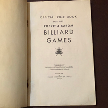 Load image into Gallery viewer, Official Rule Book for All Pocket and Carom Billiard Games. Rare 1946