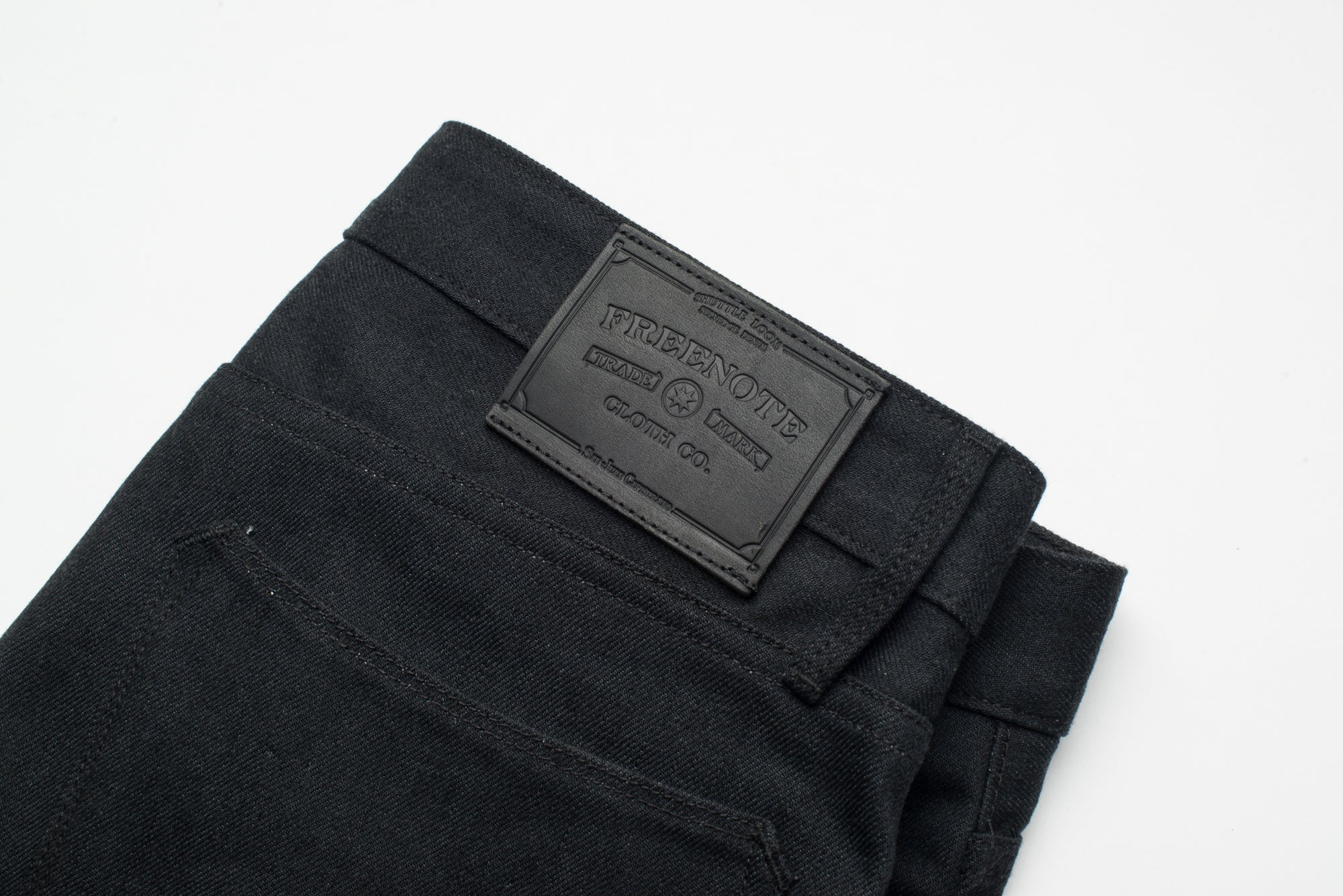 Portola Taper Raw 14.25 oz Black Grey Japanese Denim Leather Patch