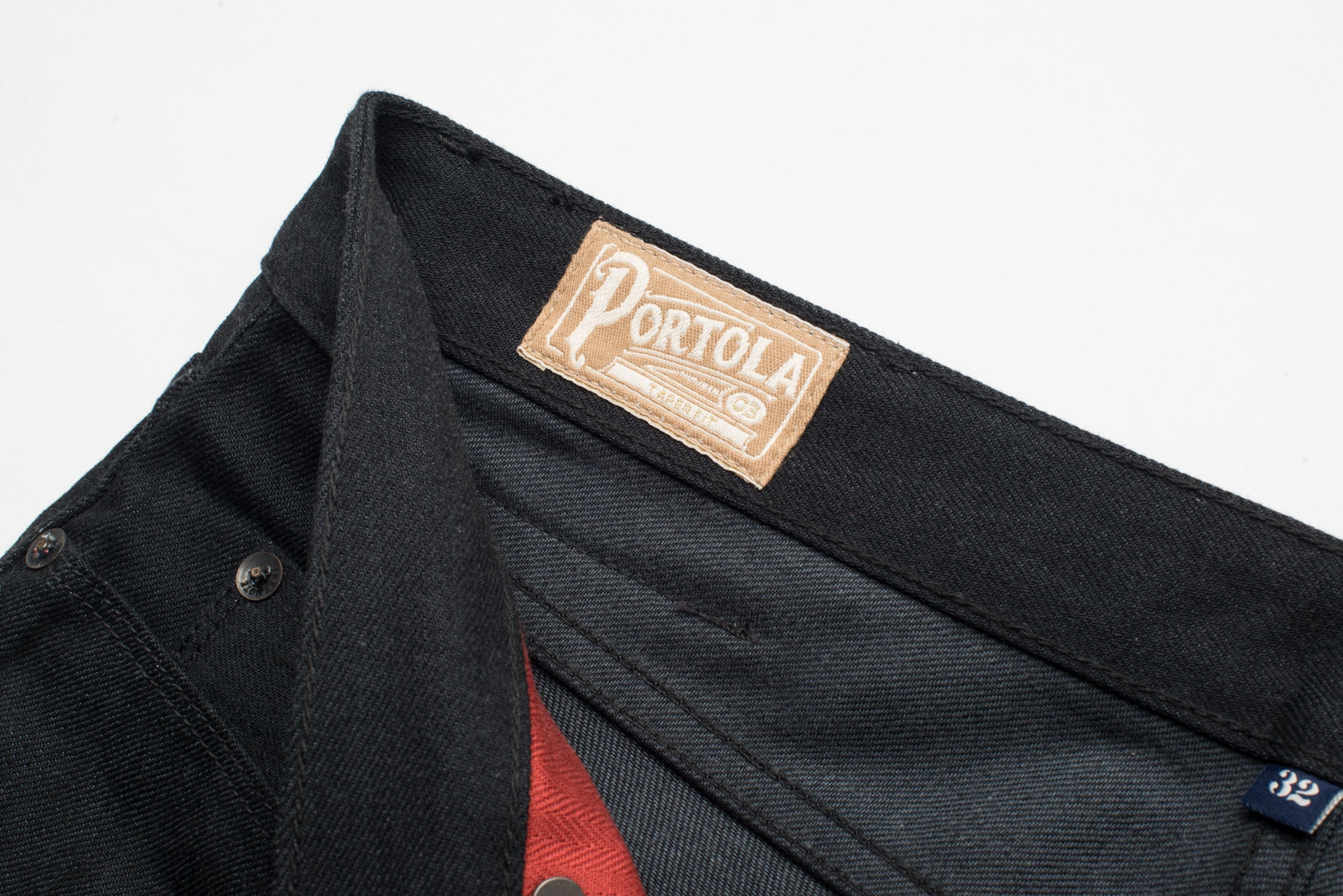 Portola Taper Raw 14.25 oz Black Grey Japanese Denim Tag