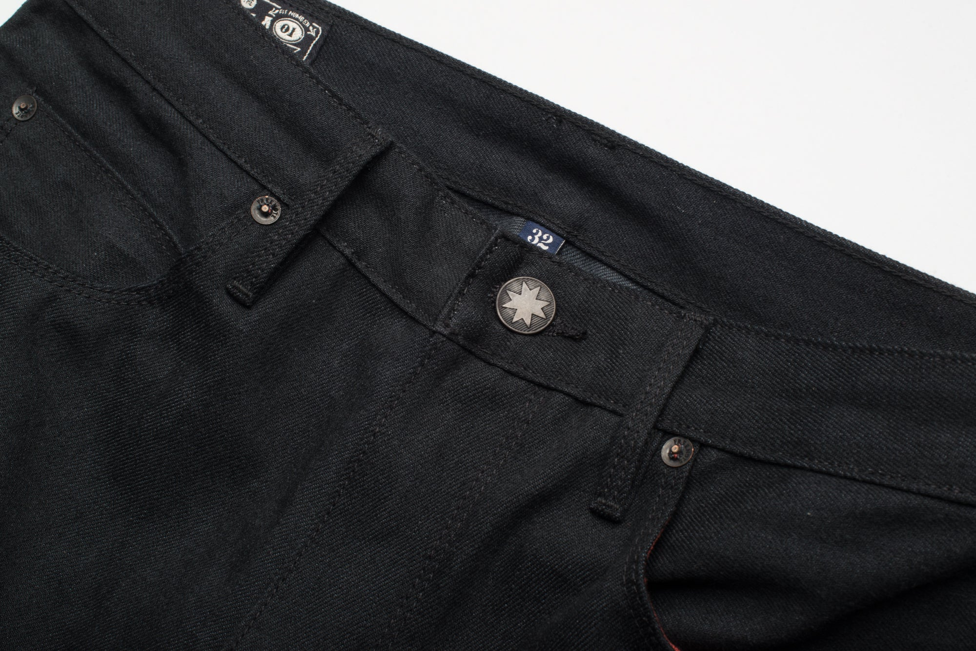 Avila Slim Taper - Raw 14.25 oz Black Grey Denim Front