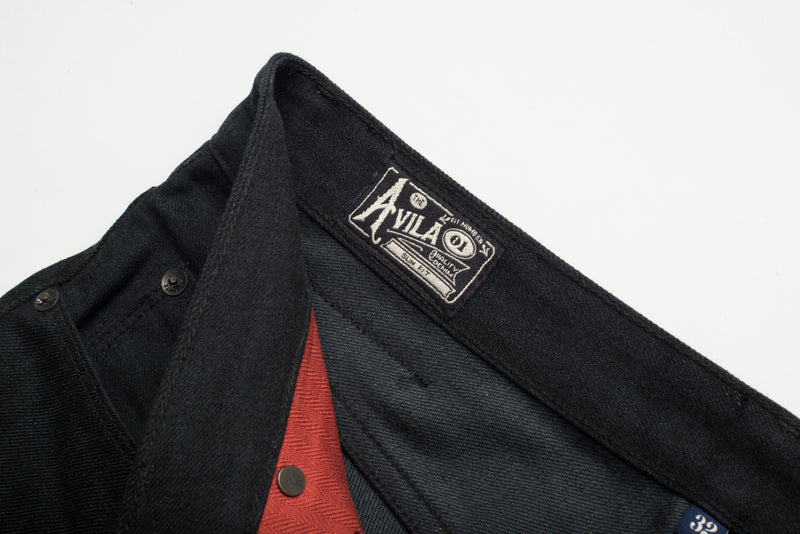 Avila Slim Taper - Raw 14.25 oz Black Grey Denim Tag
