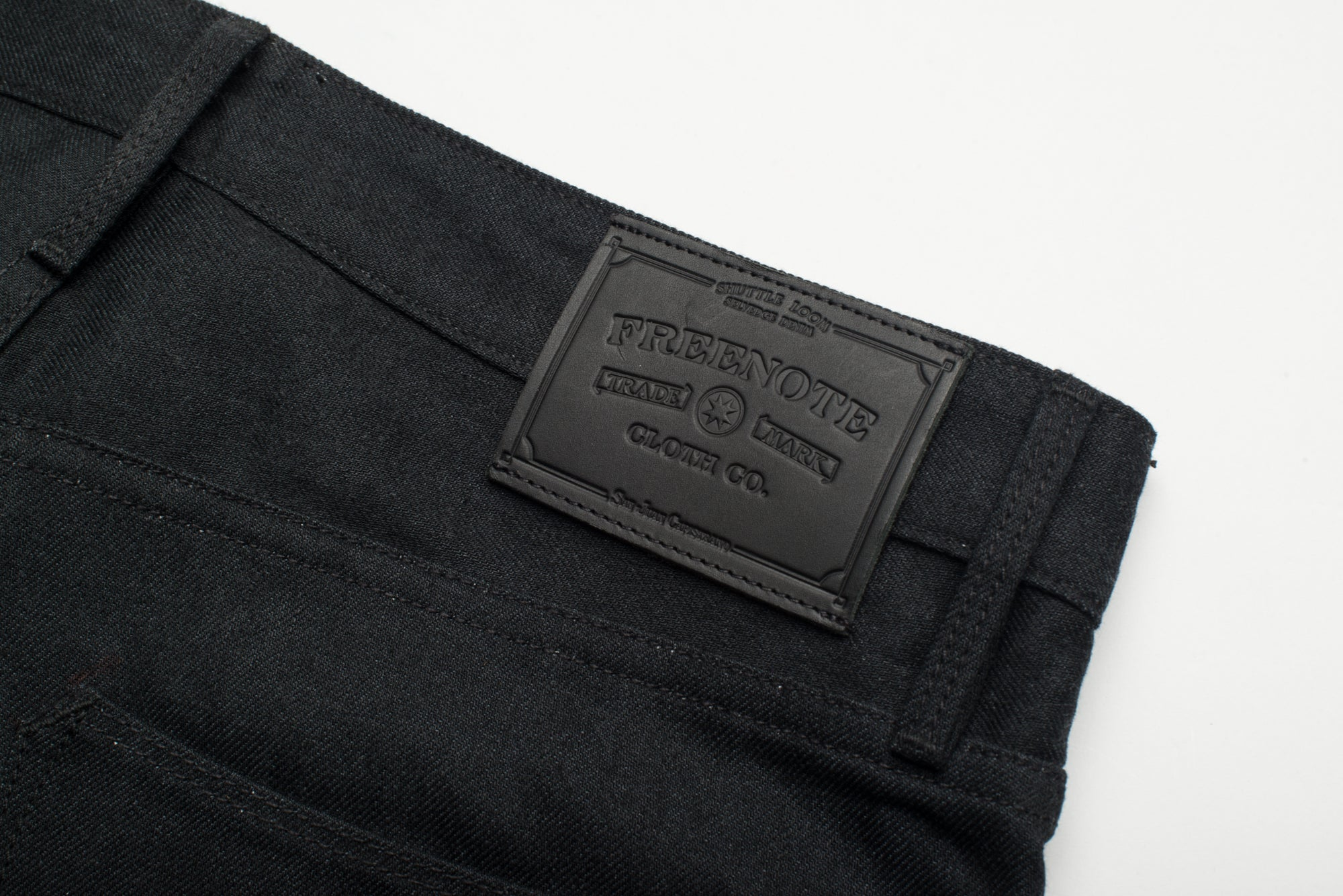 Avila Slim Taper - Raw 14.25 oz Black Grey Denim Leather Patch