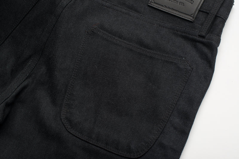 Avila Slim Taper - Raw 14.25 oz Black Grey Denim Back Pocket