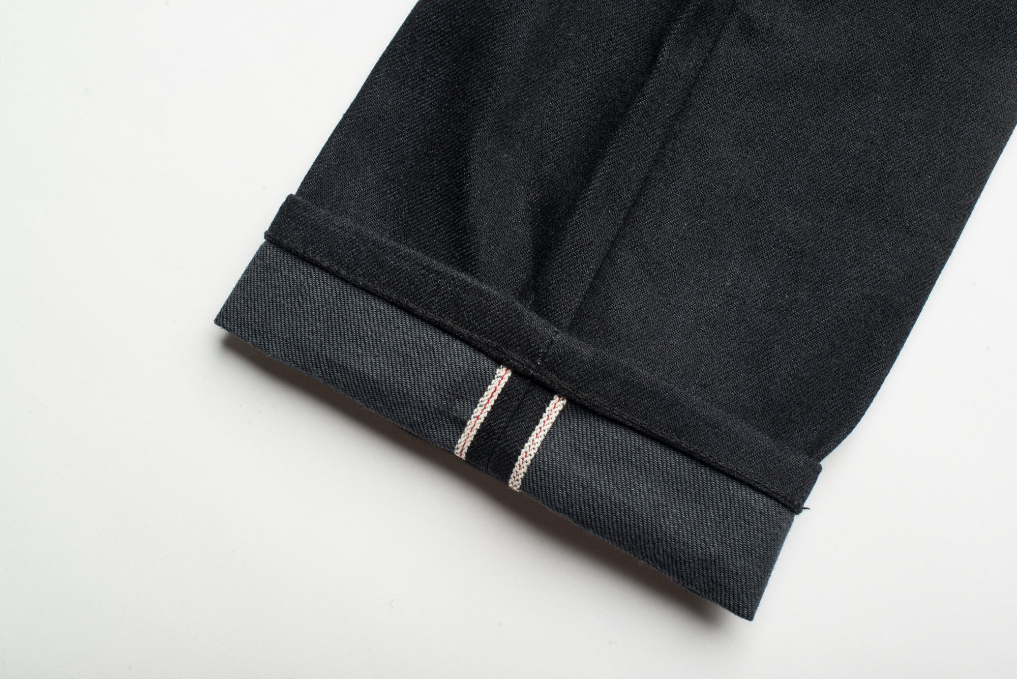 Avila Slim Taper - Raw 14.25 oz Black Grey Denim Selvage Detail