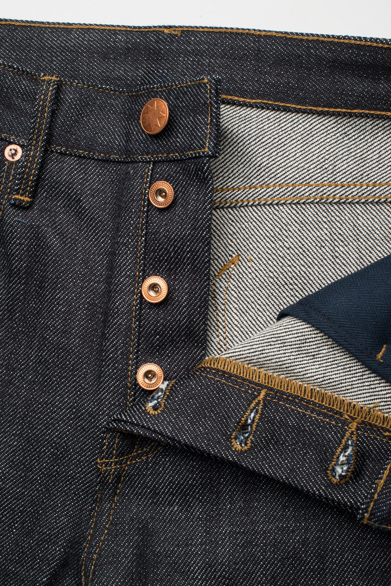 Portola Taper Raw 20 oz Japanese Denim Fly Detail