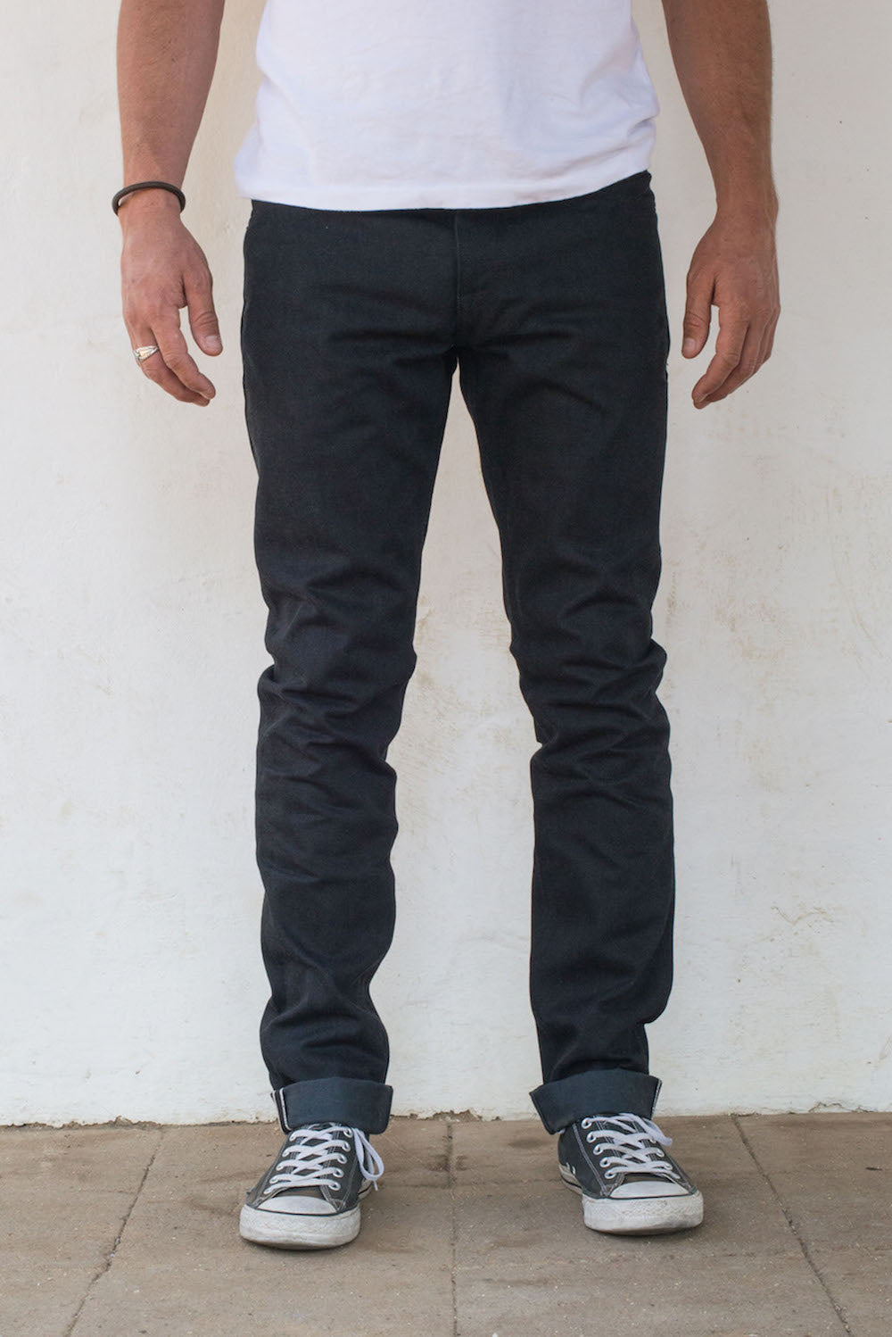 Avila Slim Taper - Raw 14.25 oz Black Grey Denim On Model Front Side