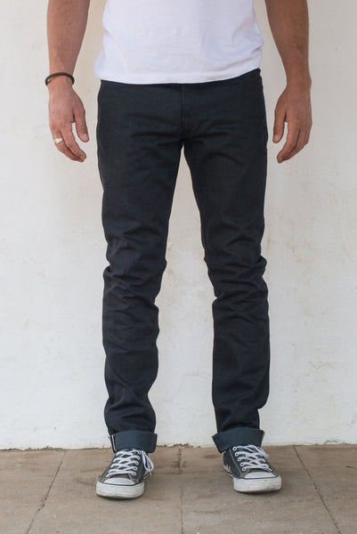 Freenote Cloth | Avila Slim Taper - Raw 14.25 oz Black Grey Denim | $250