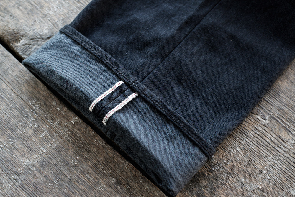Portola Taper Raw 14.25 oz Black Grey Japanese Denim Selvage Detail