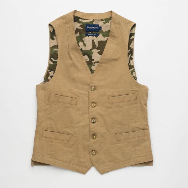 Freenote Cloth | Blinders Vest - Herringbone Khaki | $160