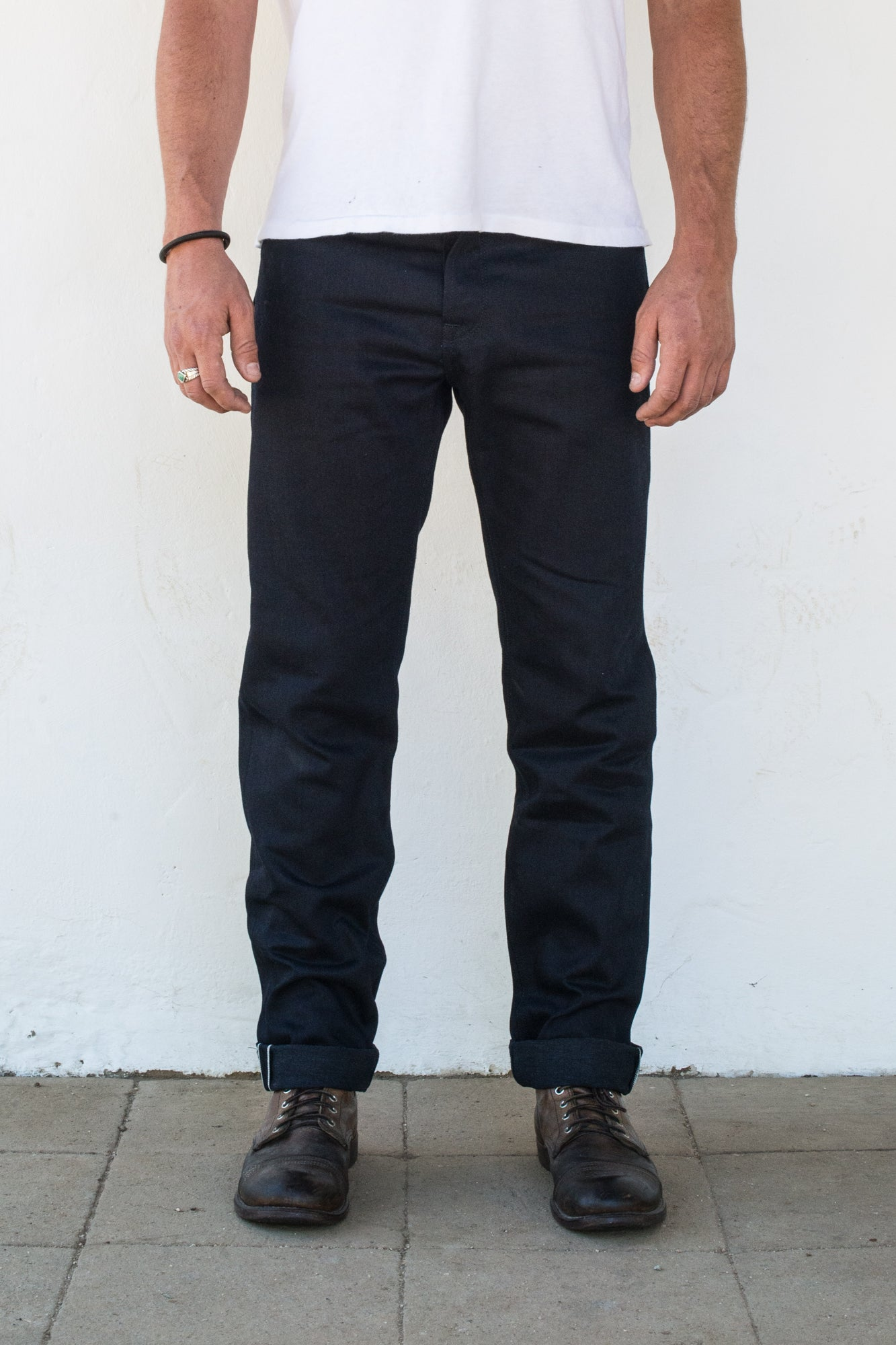 Portola 14.75 oz Blue Black Japanese Denim On Model Front Side
