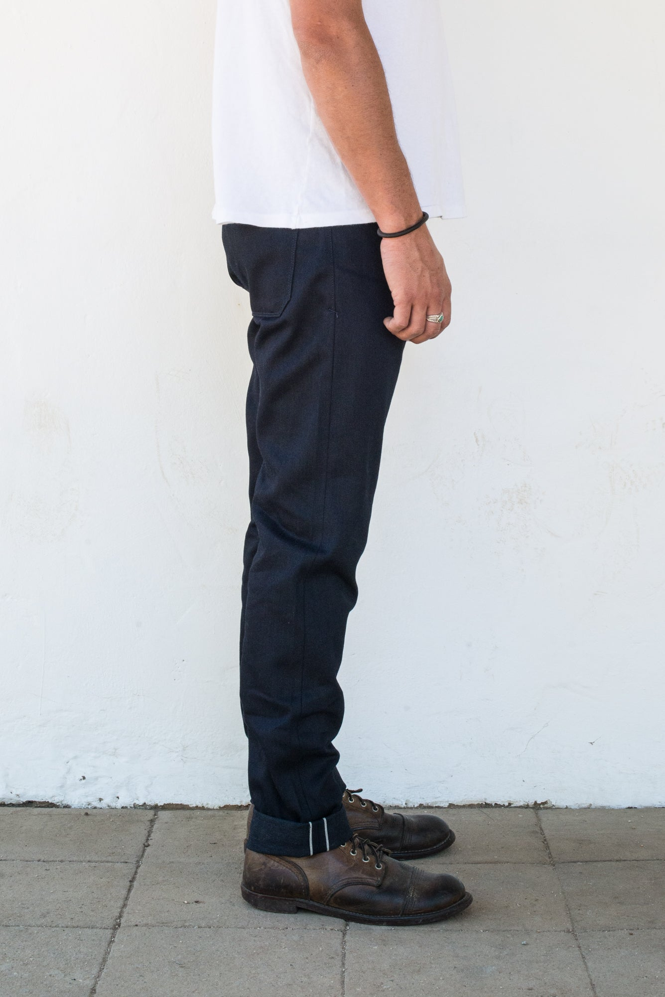 Portola 14.75 oz Blue Black Japanese Denim On Model Right Side
