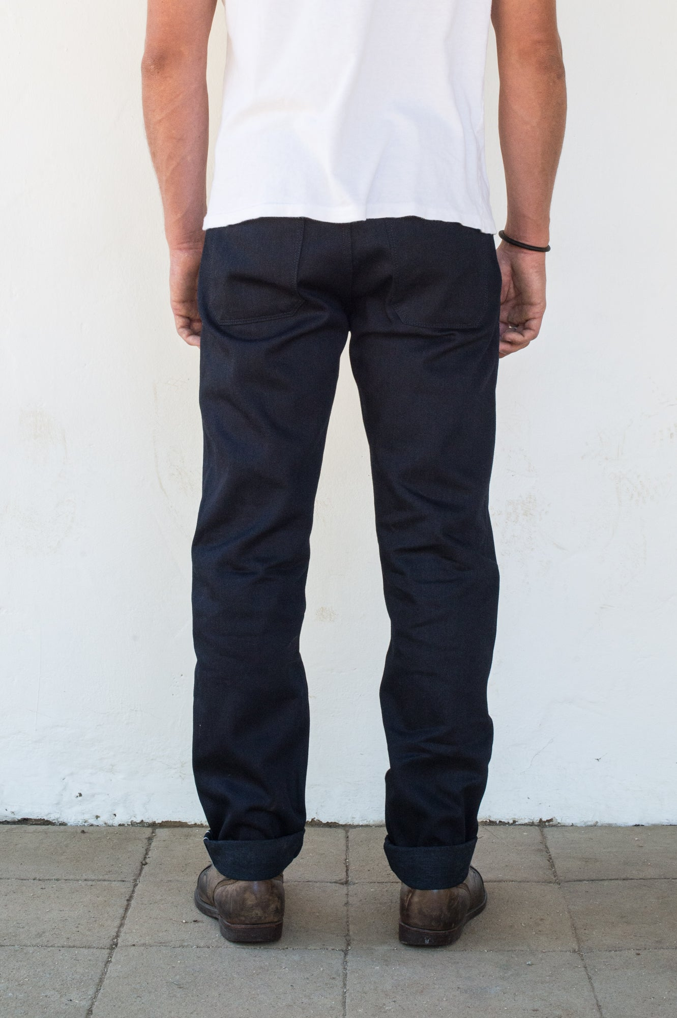 Portola 14.75 oz Blue Black Japanese Denim On Model Back Side