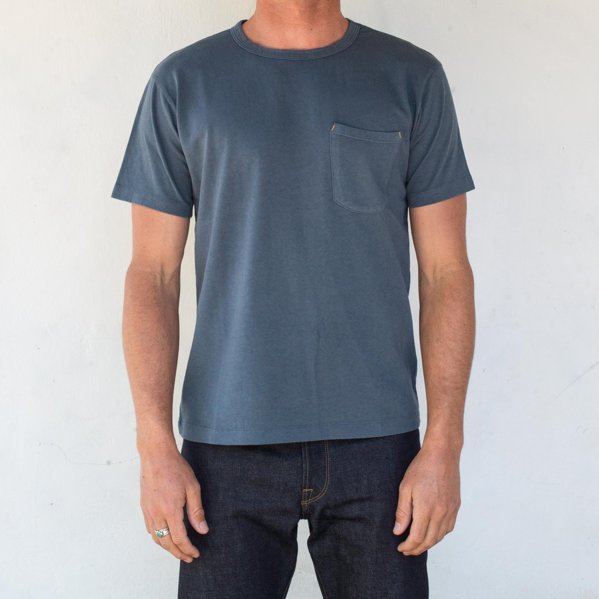 9 Oz Pocket T-Shirt <span> Blue </span>