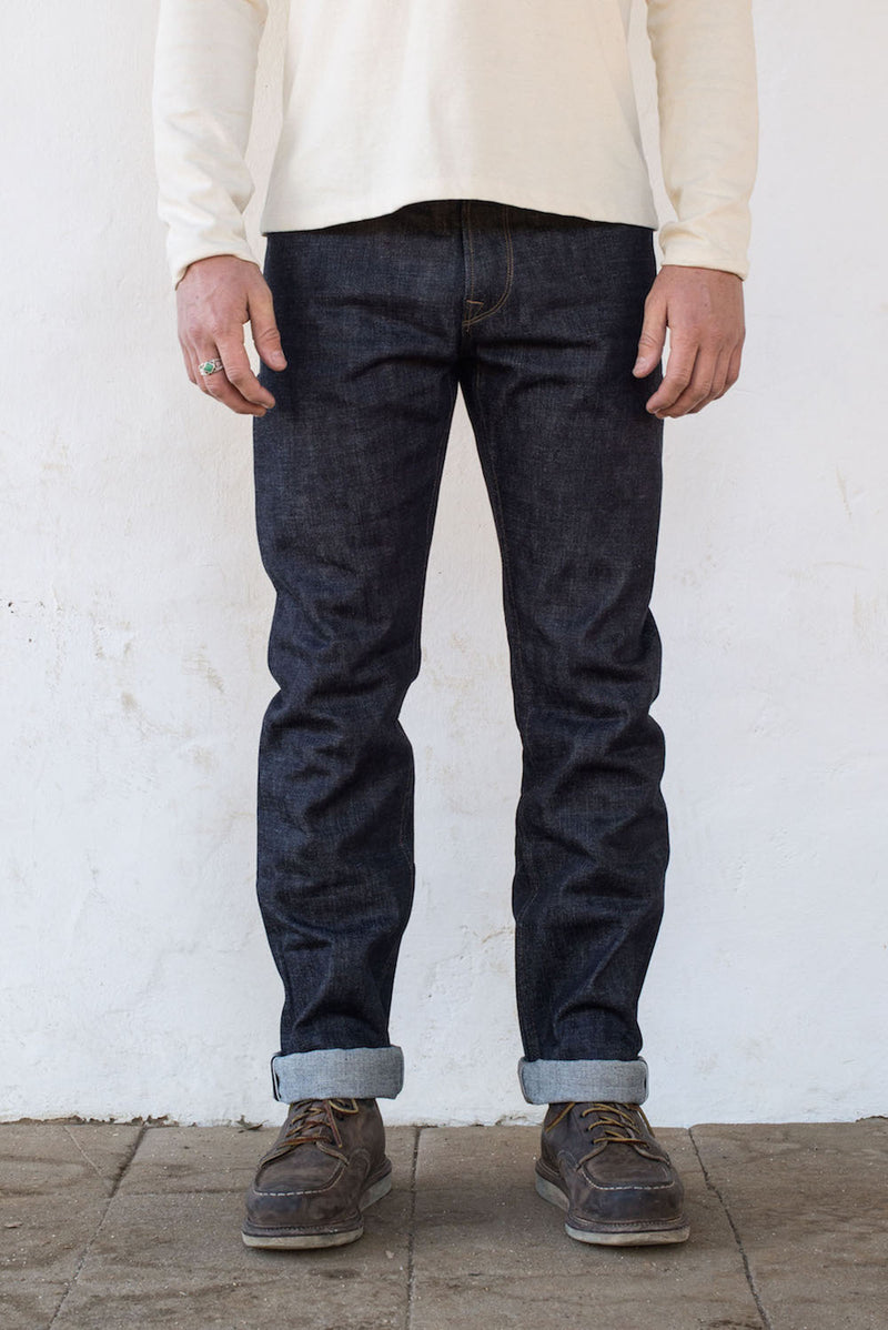 Trabuco - Raw 14.75oz Cone Mill Denim Frontside On Body | $230