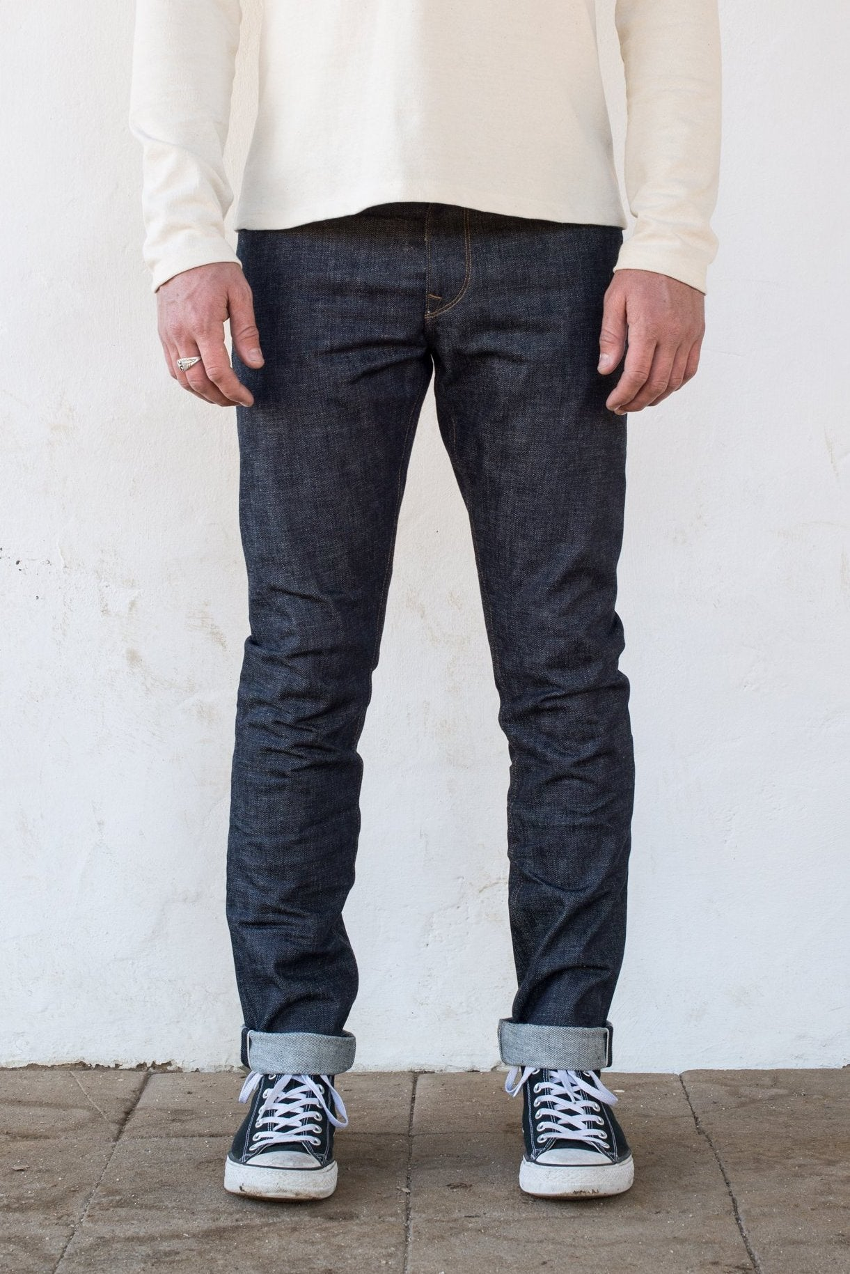 Freenote Cloth | Avila 13 oz Natural Indigo On Body (fs) | $250