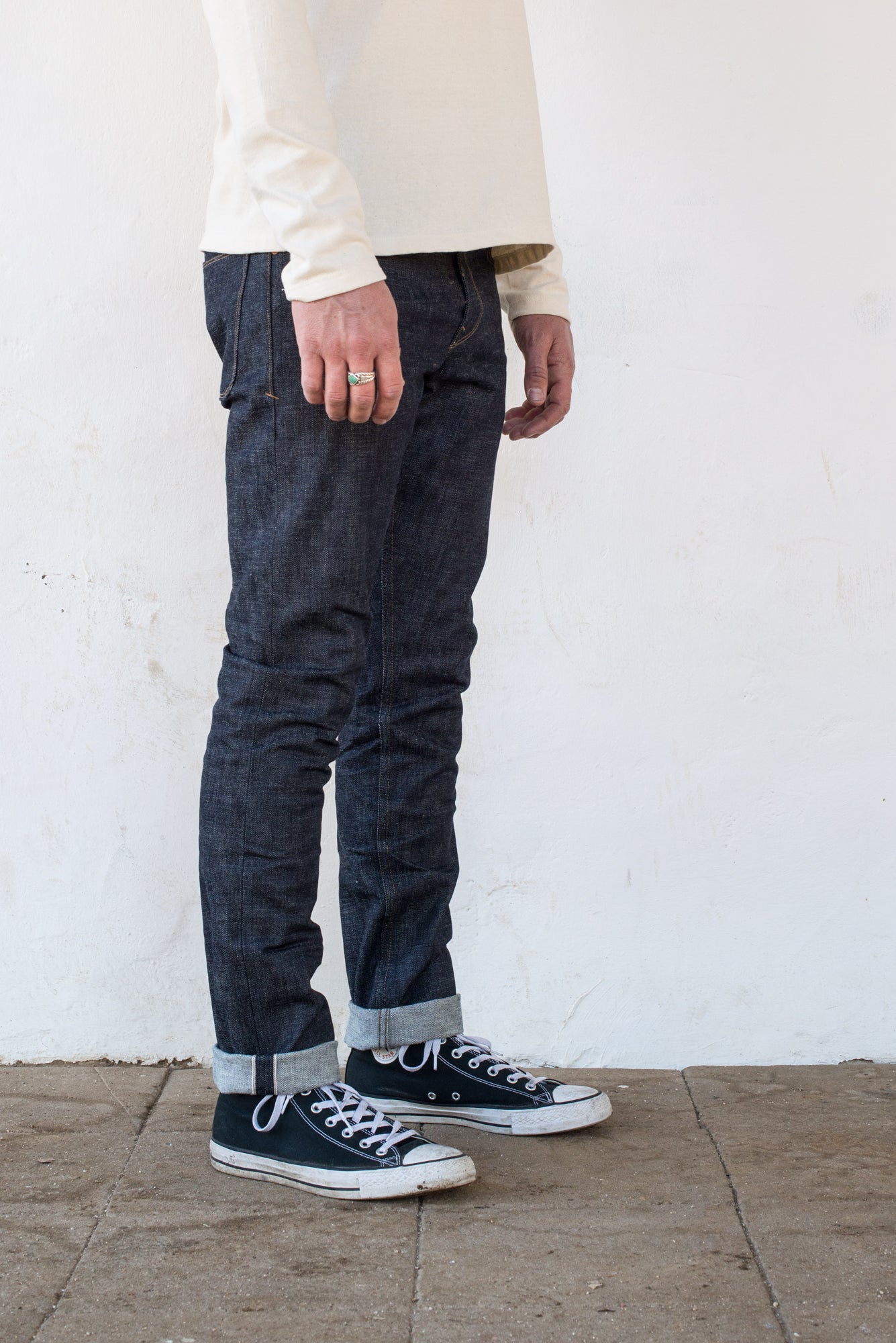 Freenote Cloth | Avila 13 oz Natural Indigo On Body Profile| $250