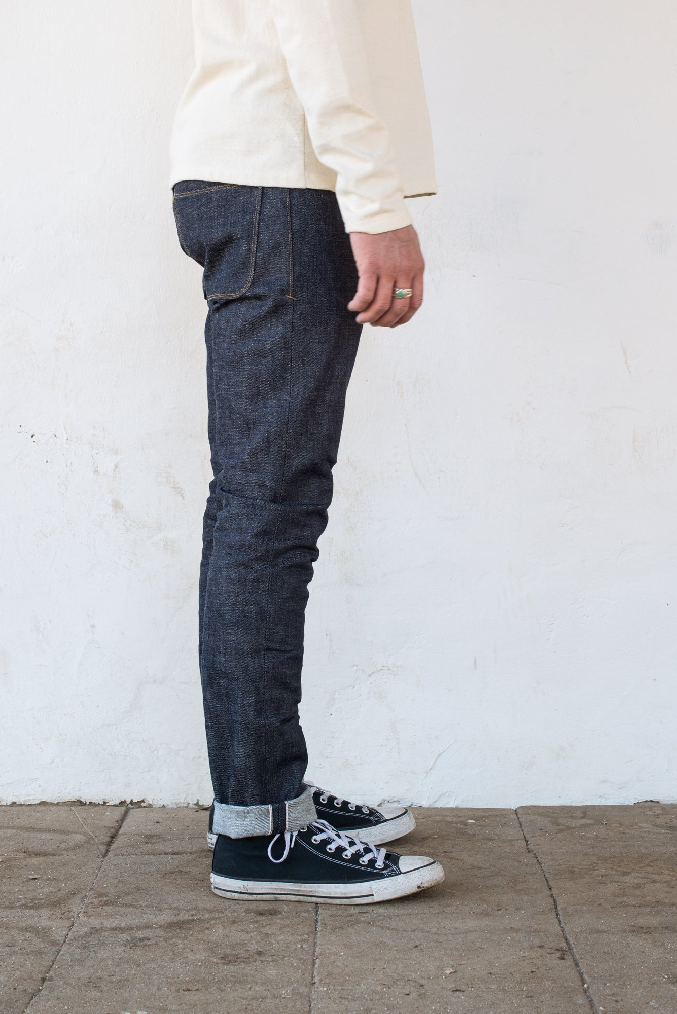 Freenote Cloth | Avila 13 oz Natural Indigo On Body (rs) | $250