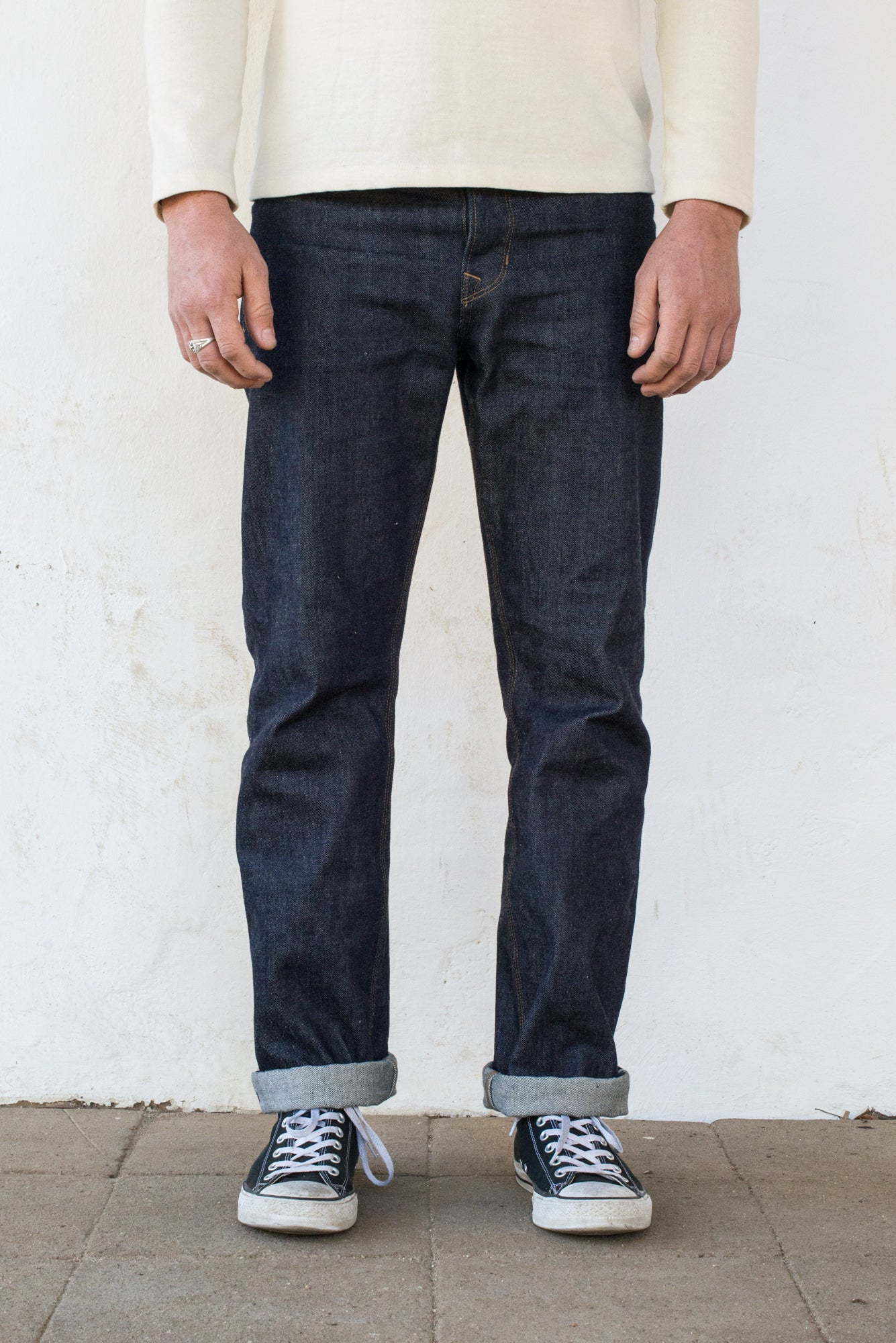 Belford Straight Raw 15 Ounce Indigo Denim On Model