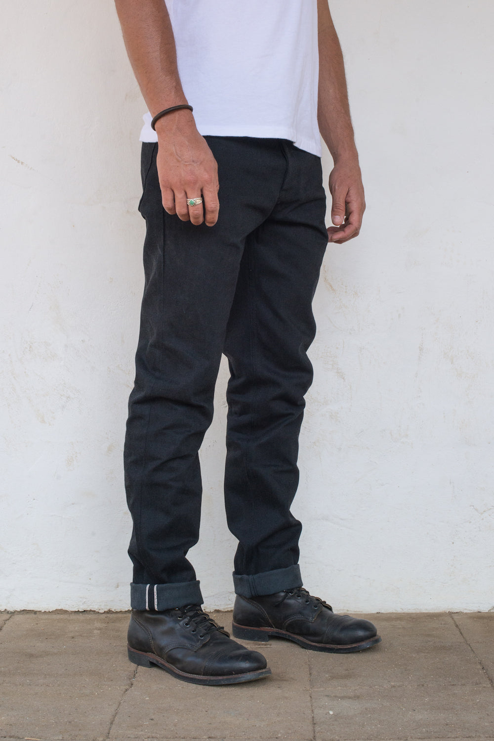 Portola Taper Raw 14.25 oz Black Grey Japanese Denim On Model Profile