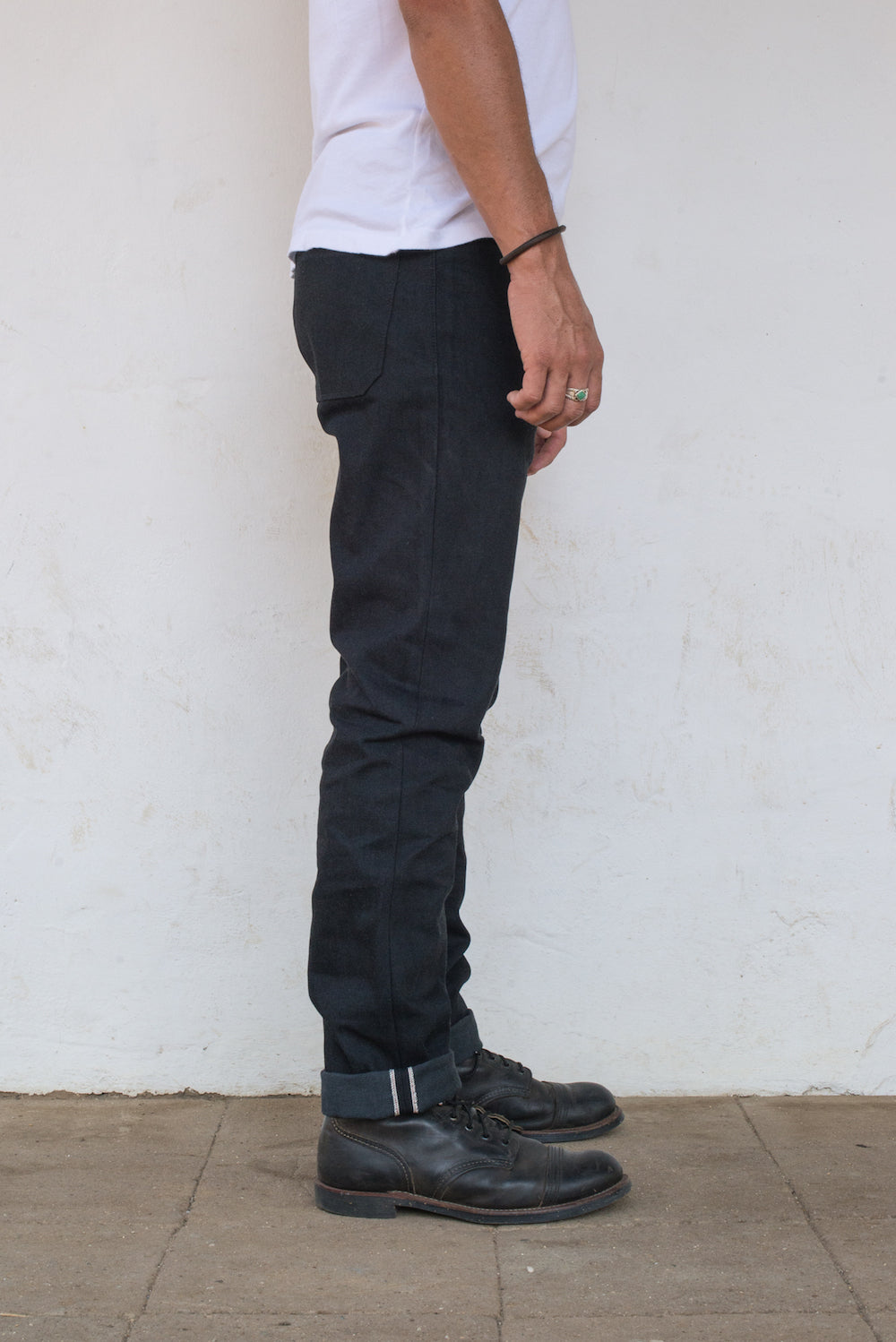 Portola Taper Raw 14.25 oz Black Grey Japanese Denim On Model Right Side