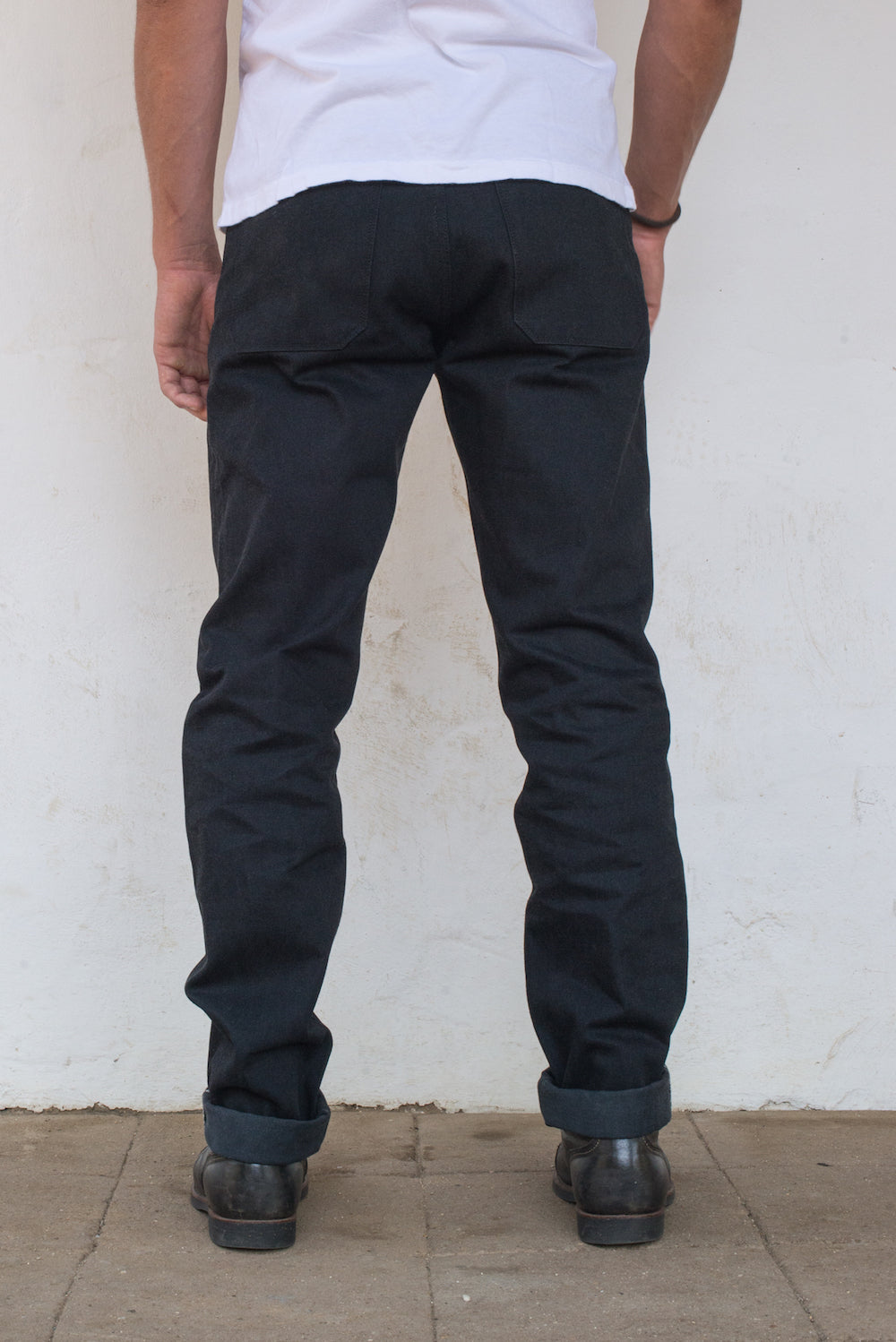 Portola Taper Raw 14.25 oz Black Grey Japanese Denim On Model Back Side