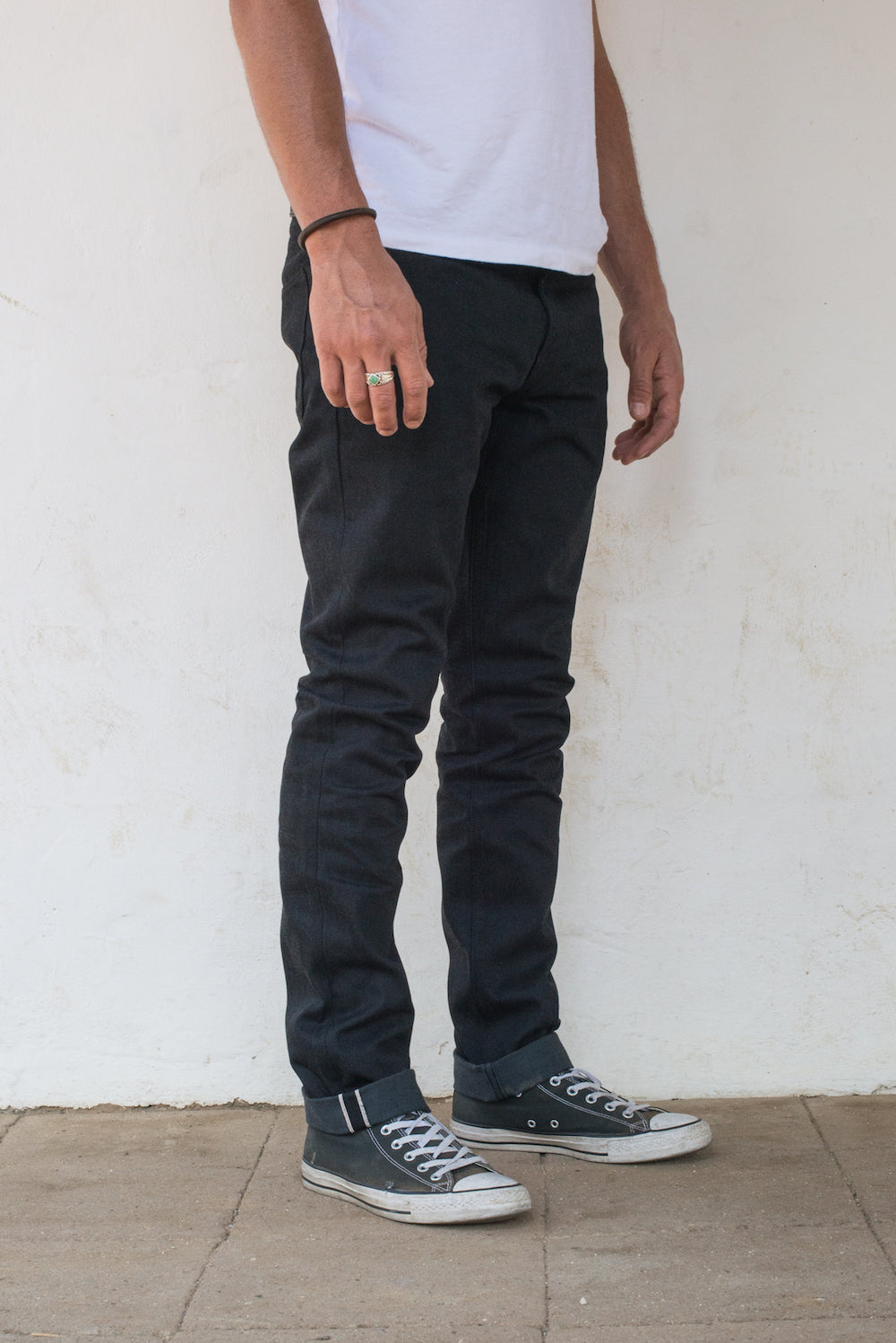 Avila Slim Taper - Raw 14.25 oz Black Grey Denim On Model Profile