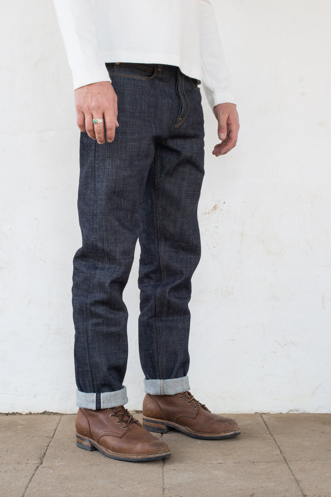 Portola Taper Raw 20 oz Japanese Denim On Model Profile
