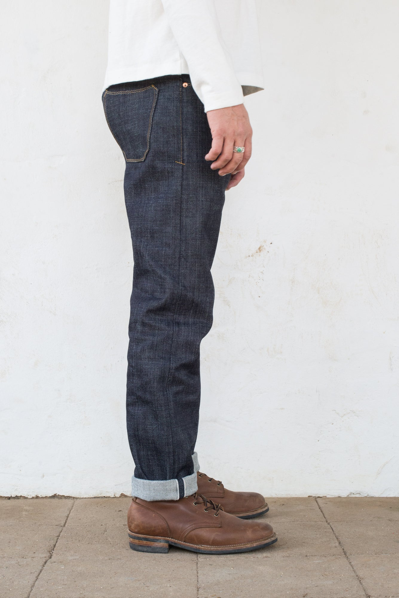 Portola Taper Raw 20 oz Japanese Denim On Model Right Side
