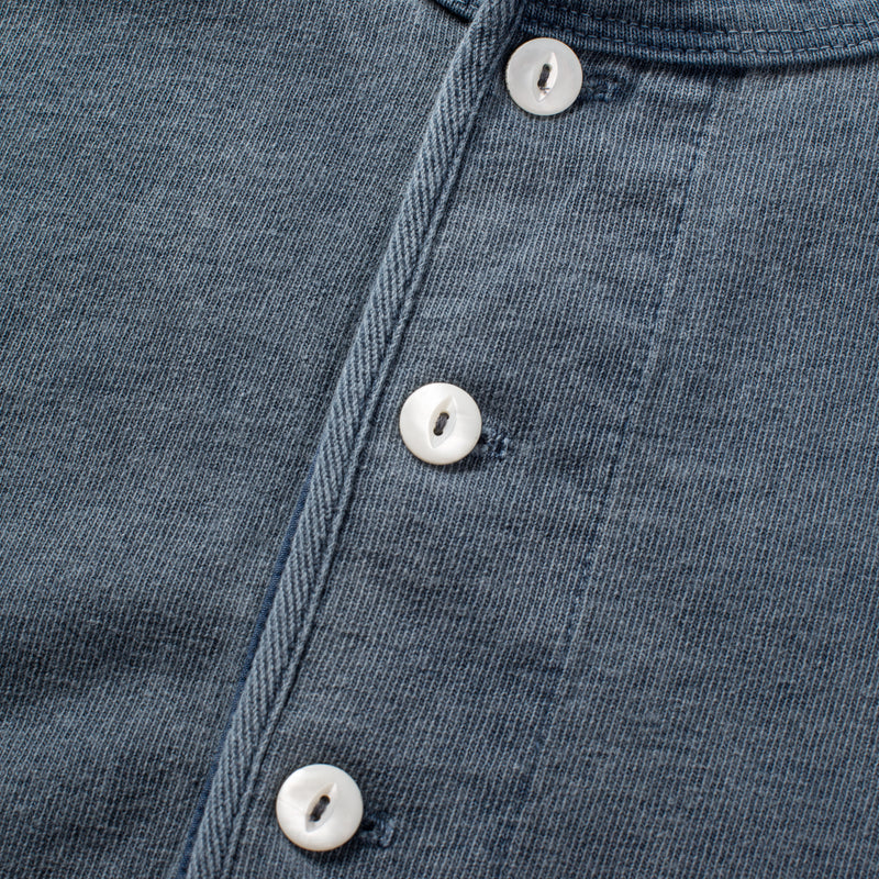 13 ounce Henley LS Faded Blue buttons