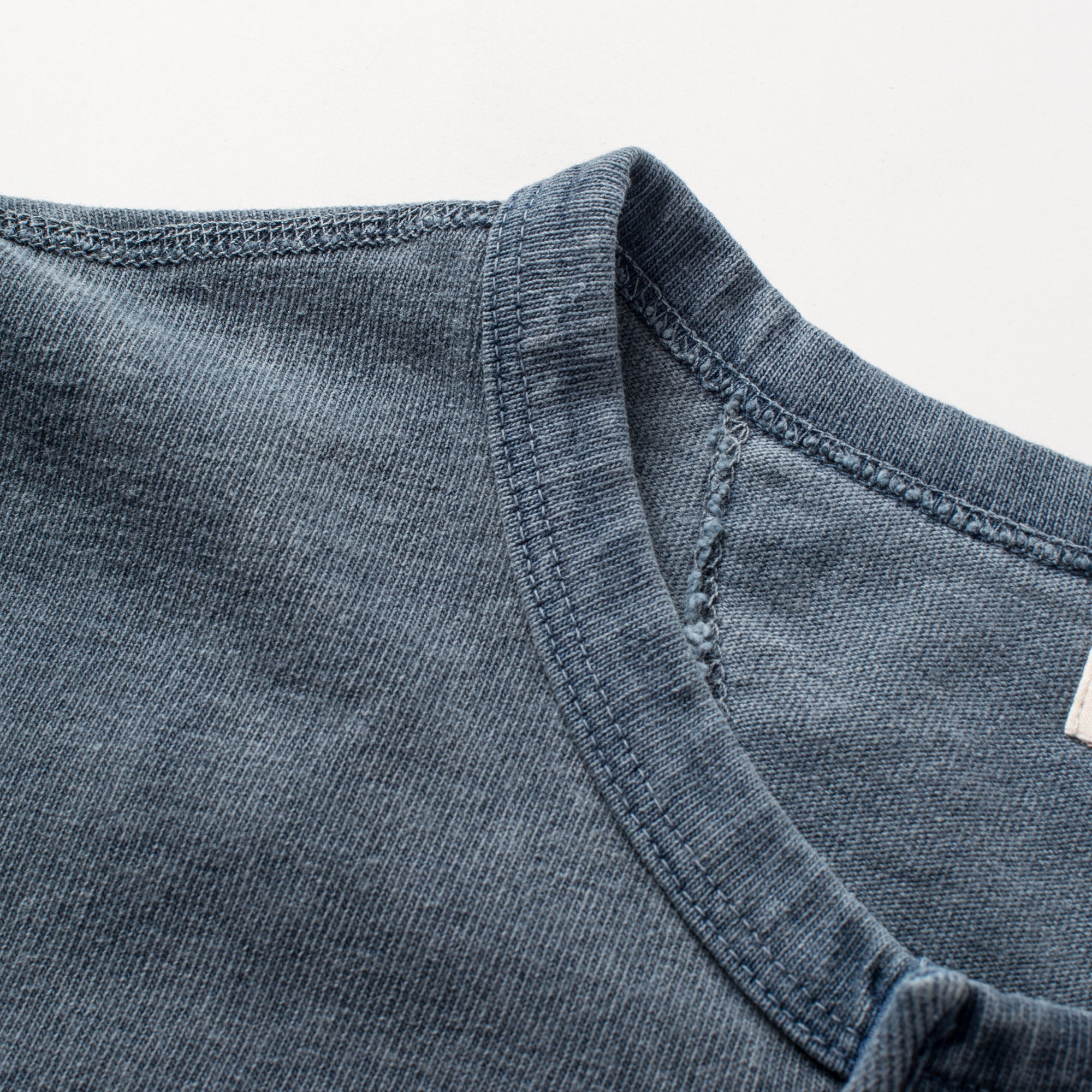 13 ounce Henley LS Faded Blue Collar