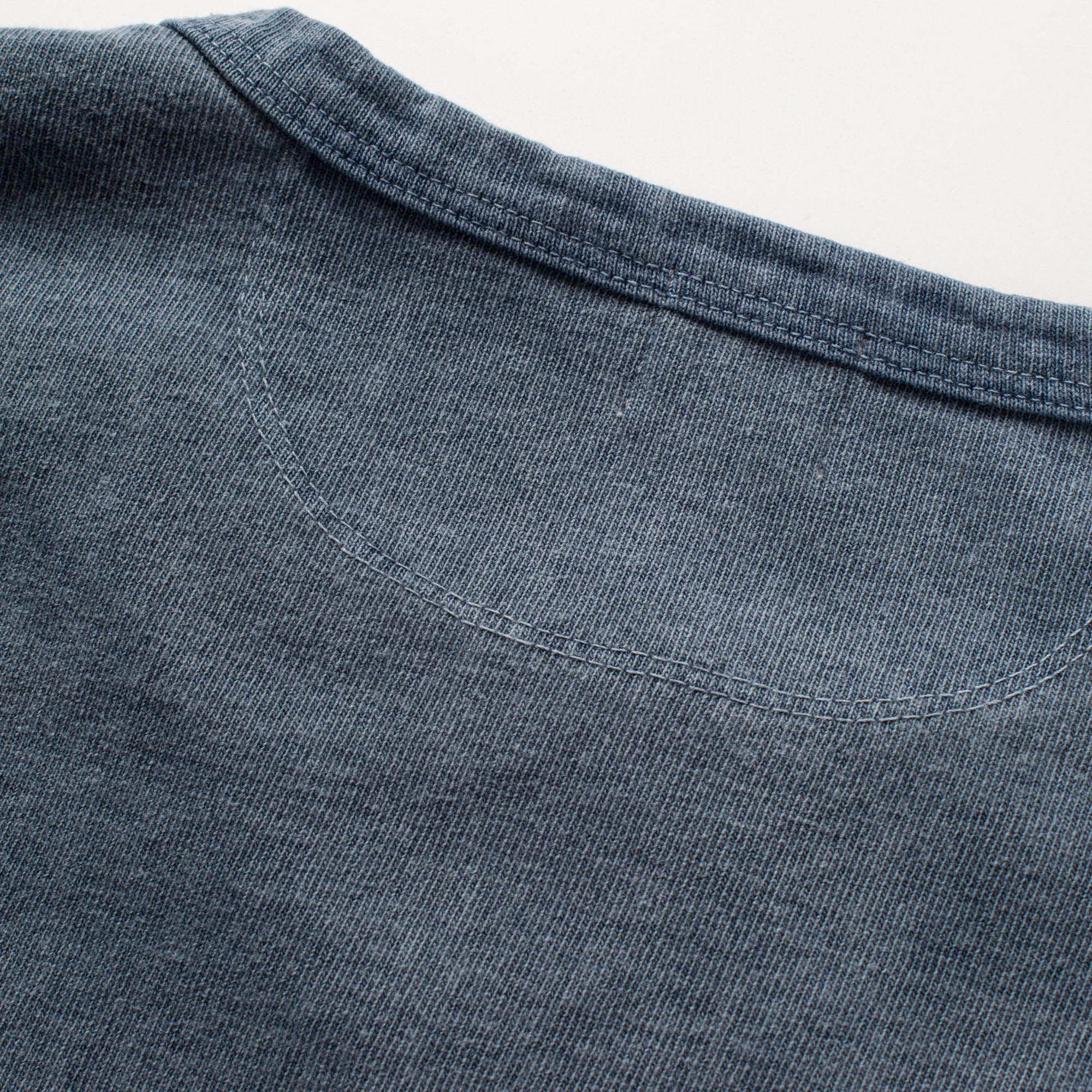 13 ounce Henley LS Faded Blue Upper Back