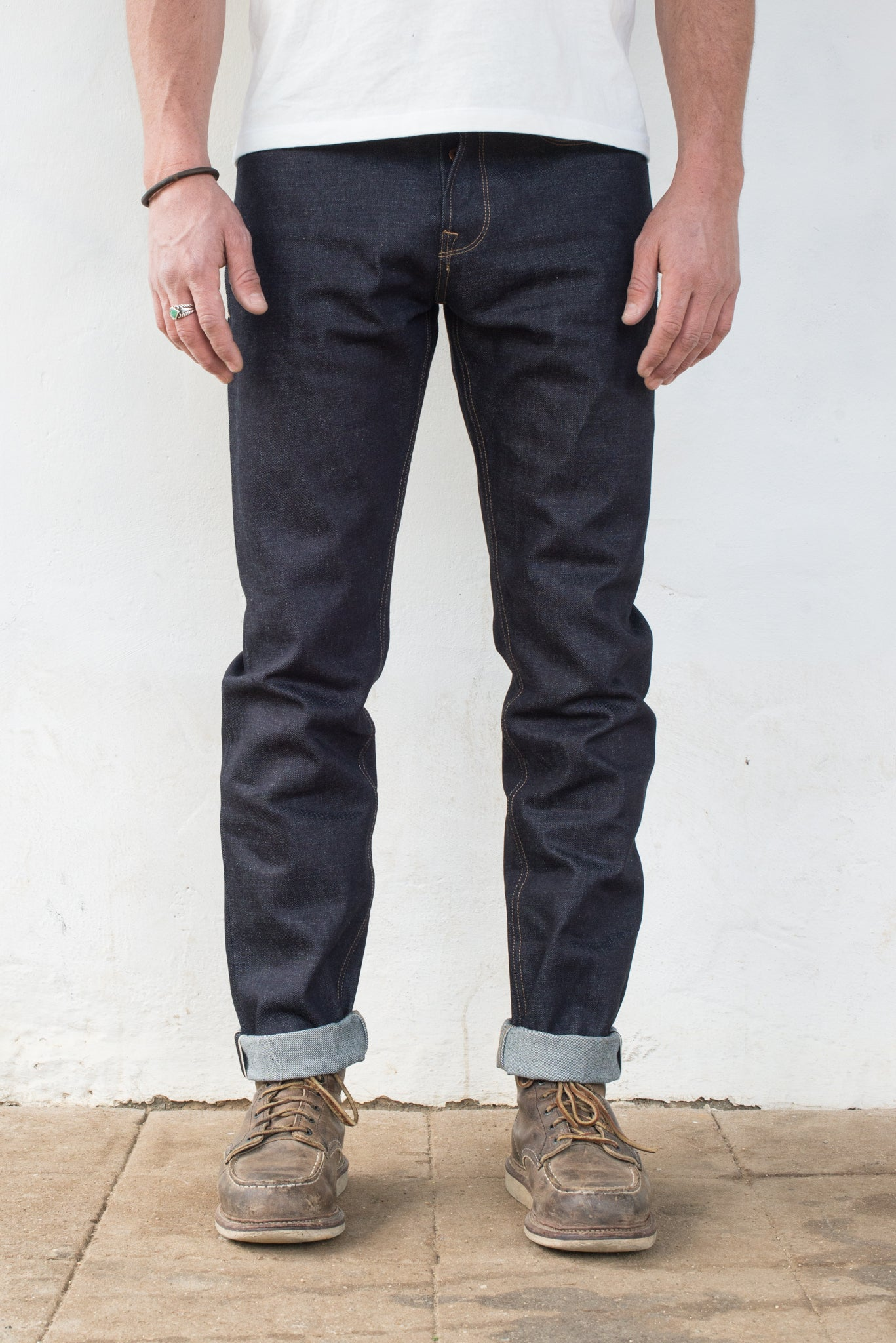 Portola Taper - 14.50 oz Kaihara Denim On Model Front Side