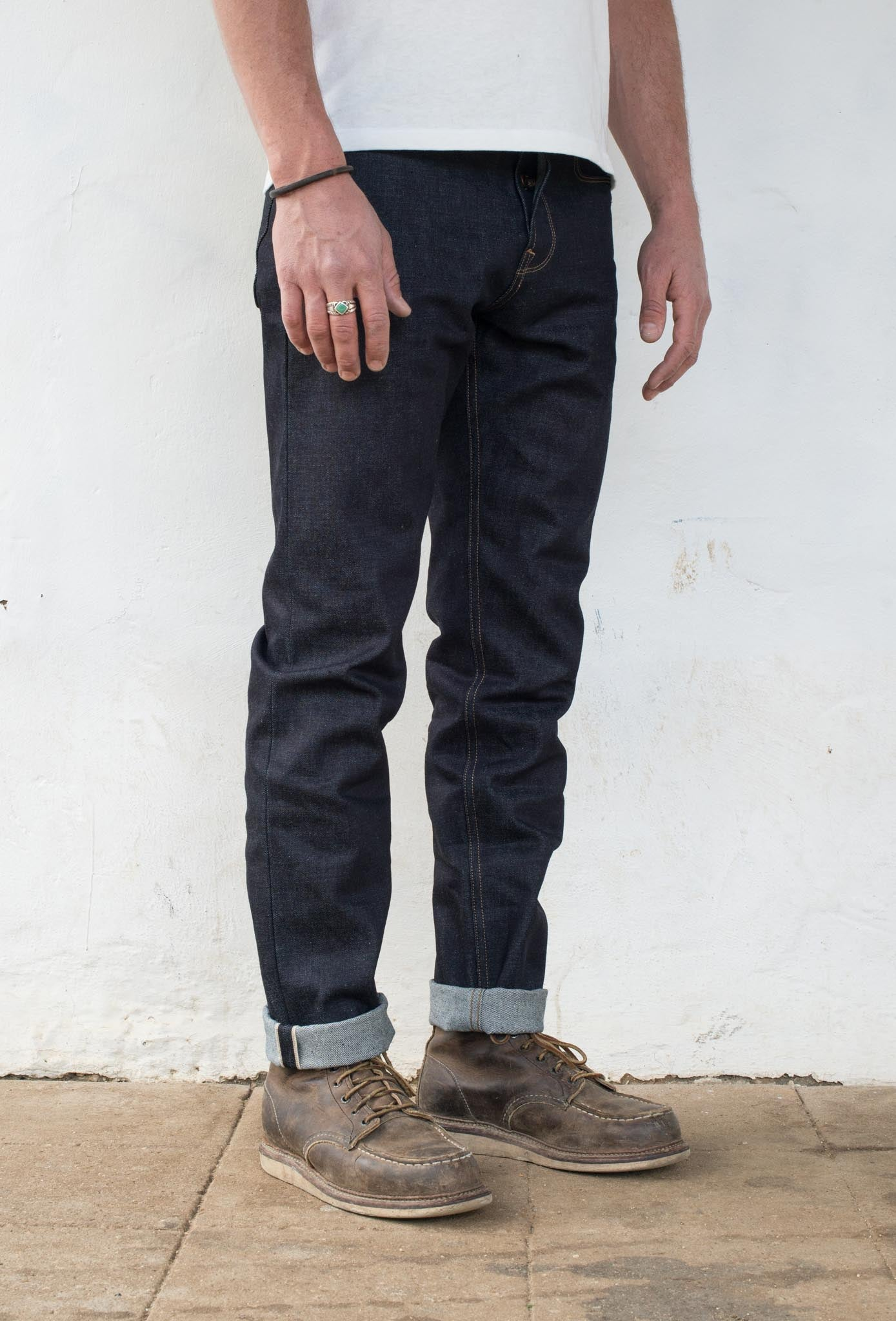 Portola Taper - 14.50 oz Kaihara Denim On Model 3/4 Side