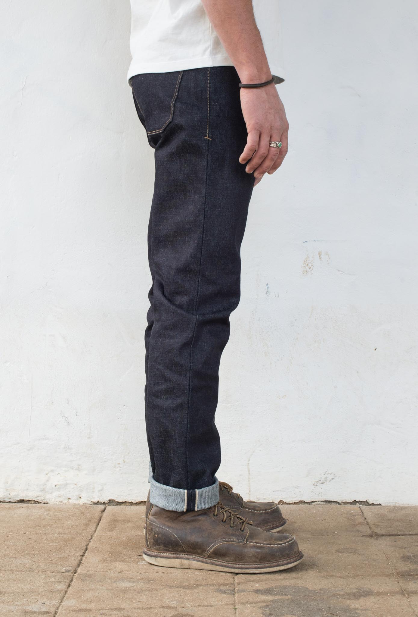 Portola Taper - 14.50 oz Kaihara Denim On Model Side