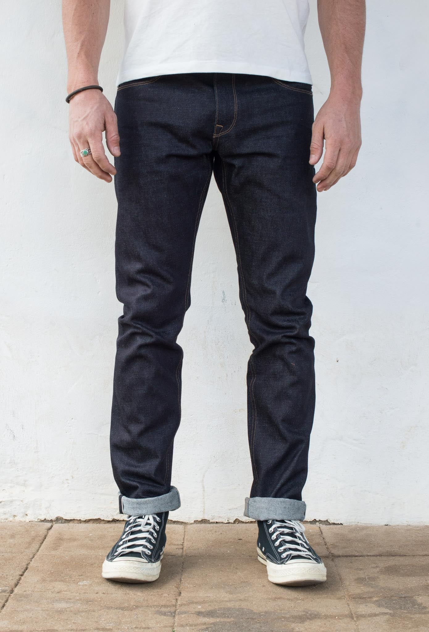 Avila Slim Taper - 14.50 oz Kaihara Denim On Model Front Side
