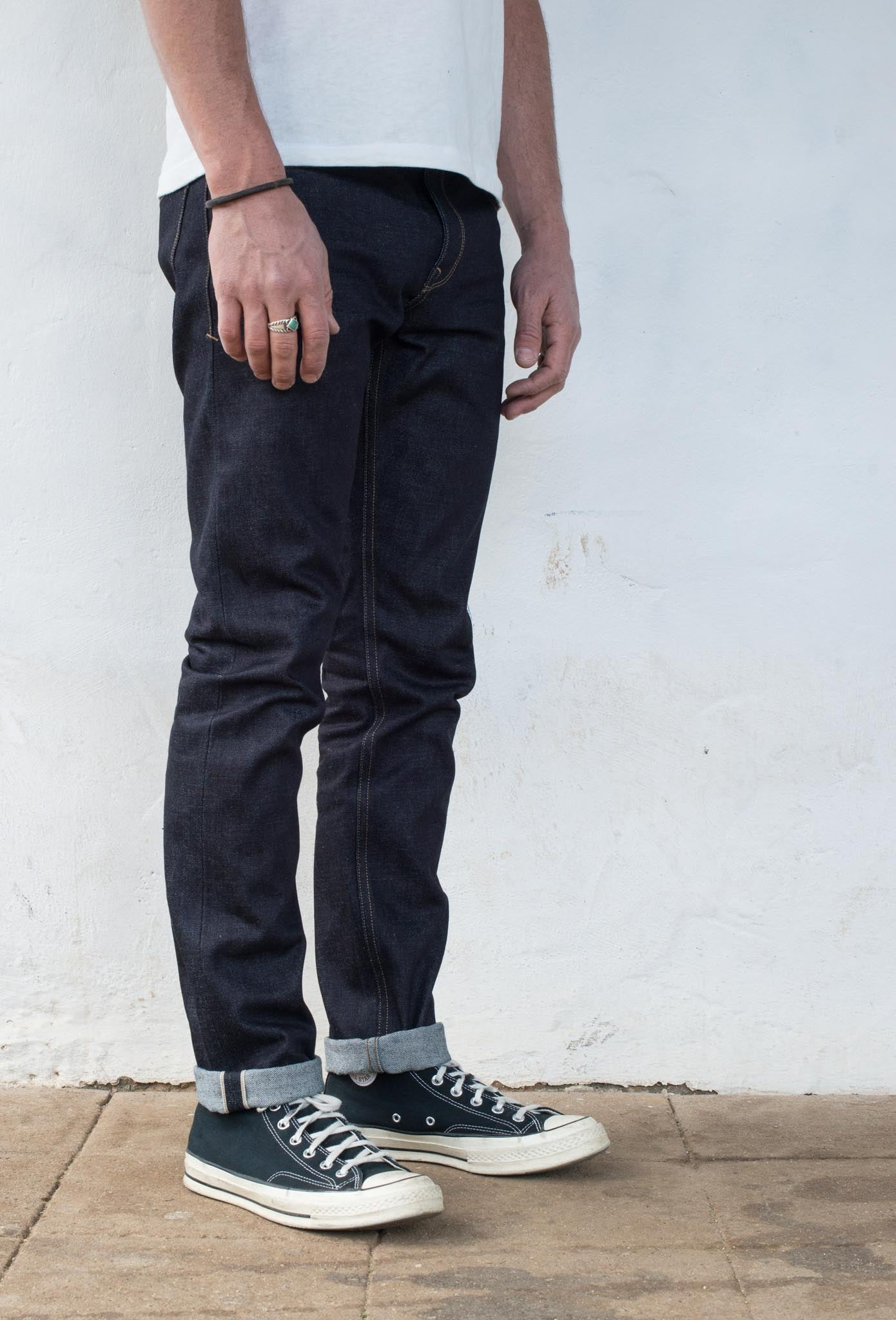 Avila Slim Taper - 14.50 oz Kaihara Denim On Model 3/4 Side
