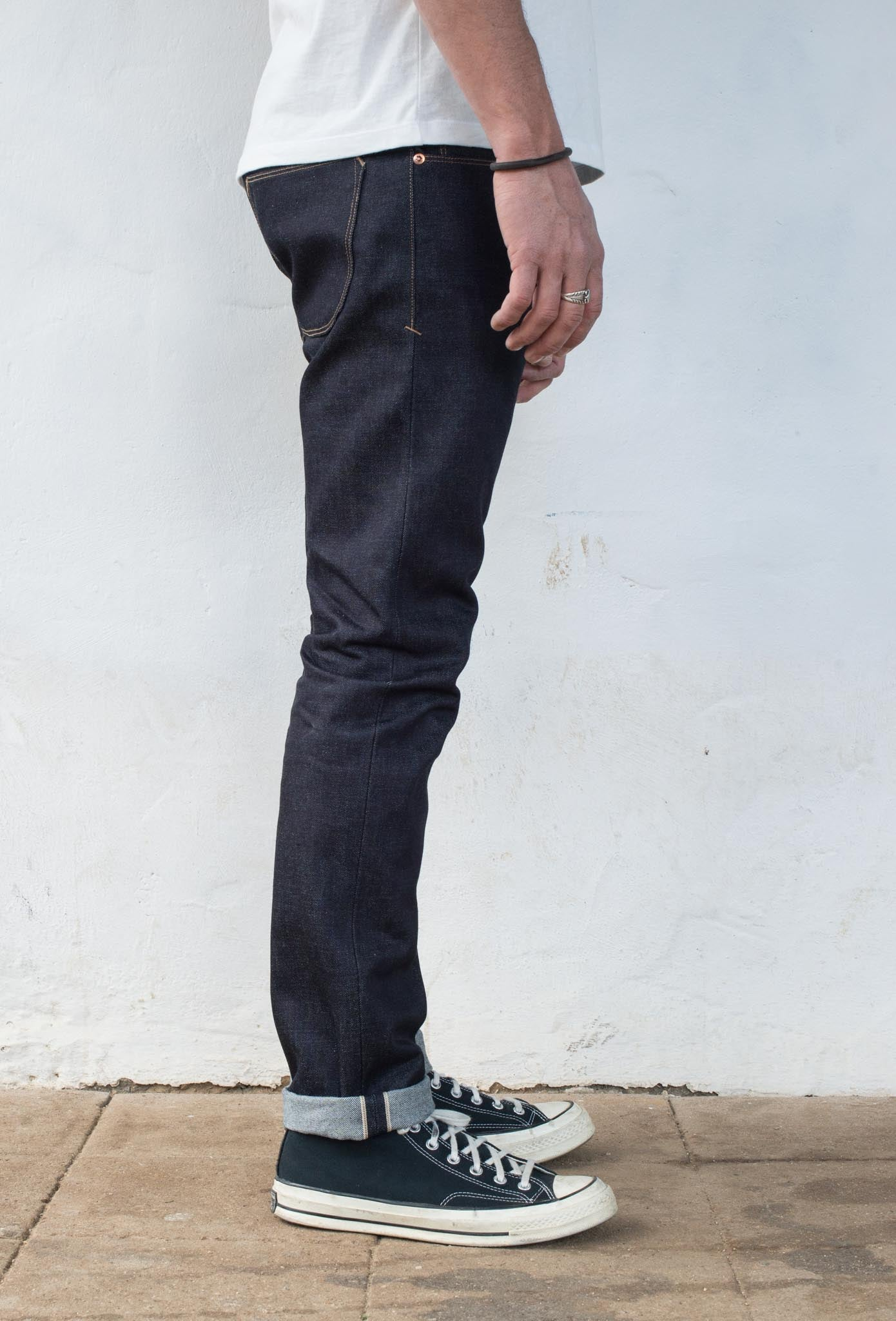 Avila Slim Taper - 14.50 oz Kaihara Denim On Model Side