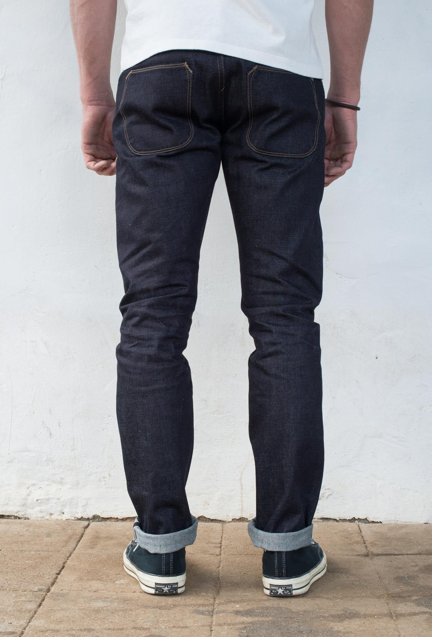 Avila Slim Taper - 14.50 oz Kaihara Denim On Model Back Side
