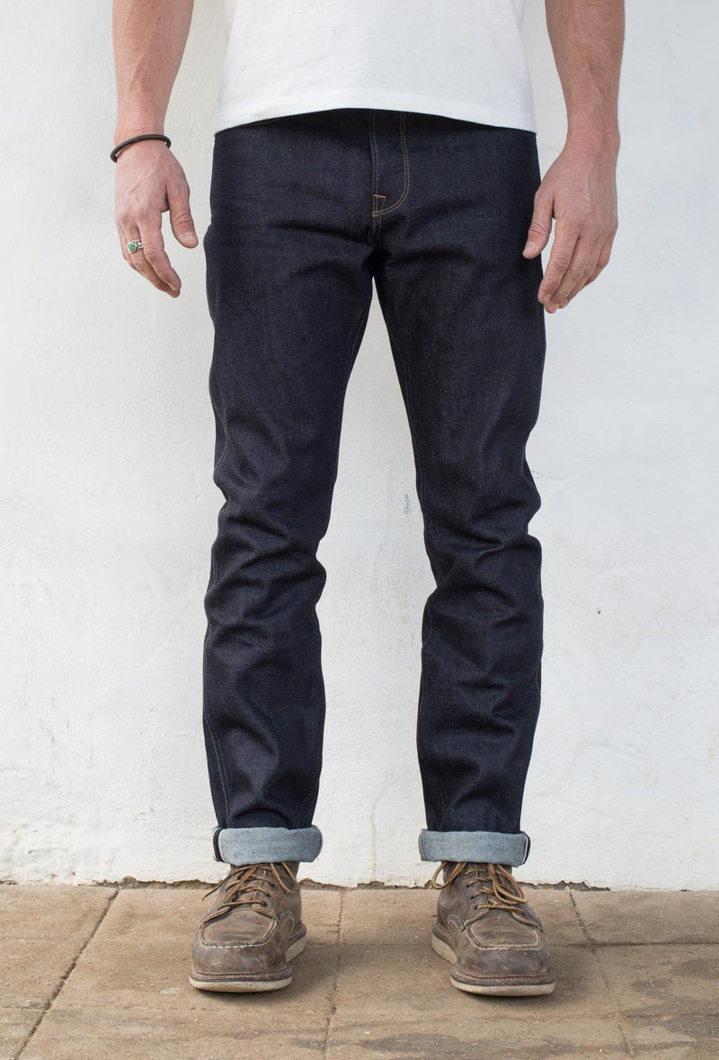 Rios Slim Straight - 14.50 oz Kaihara Denim On Model Front Side
