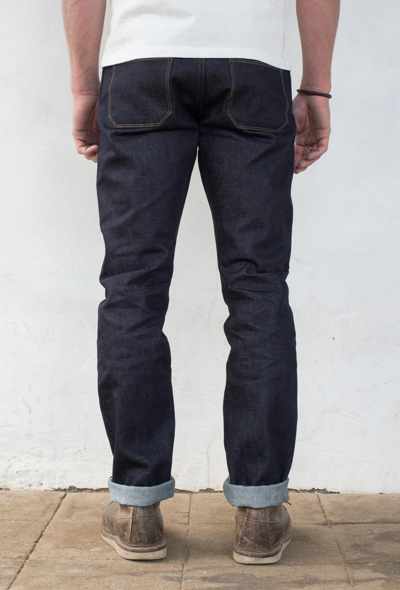 Rios Slim Straight - 14.50 oz Kaihara Denim On Model Back Side