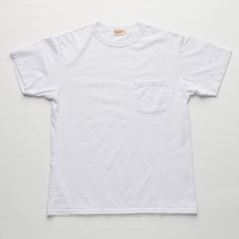 Freenote Cloth | 6 oz Mid Jersey Pocket T-Shirt - White | $65