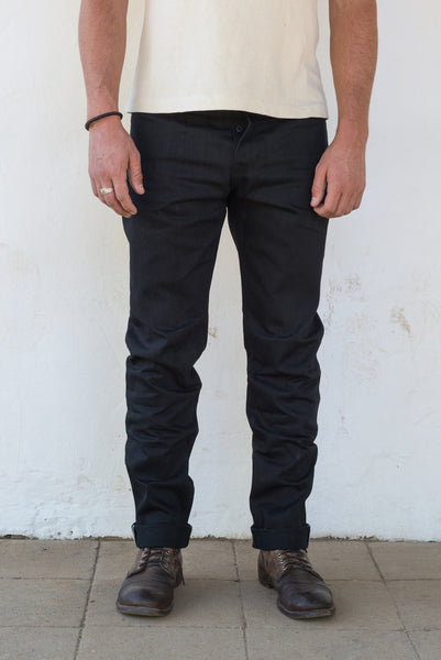 Freenote Cloth | Portola - Raw 13 oz Black Black Denim | $250