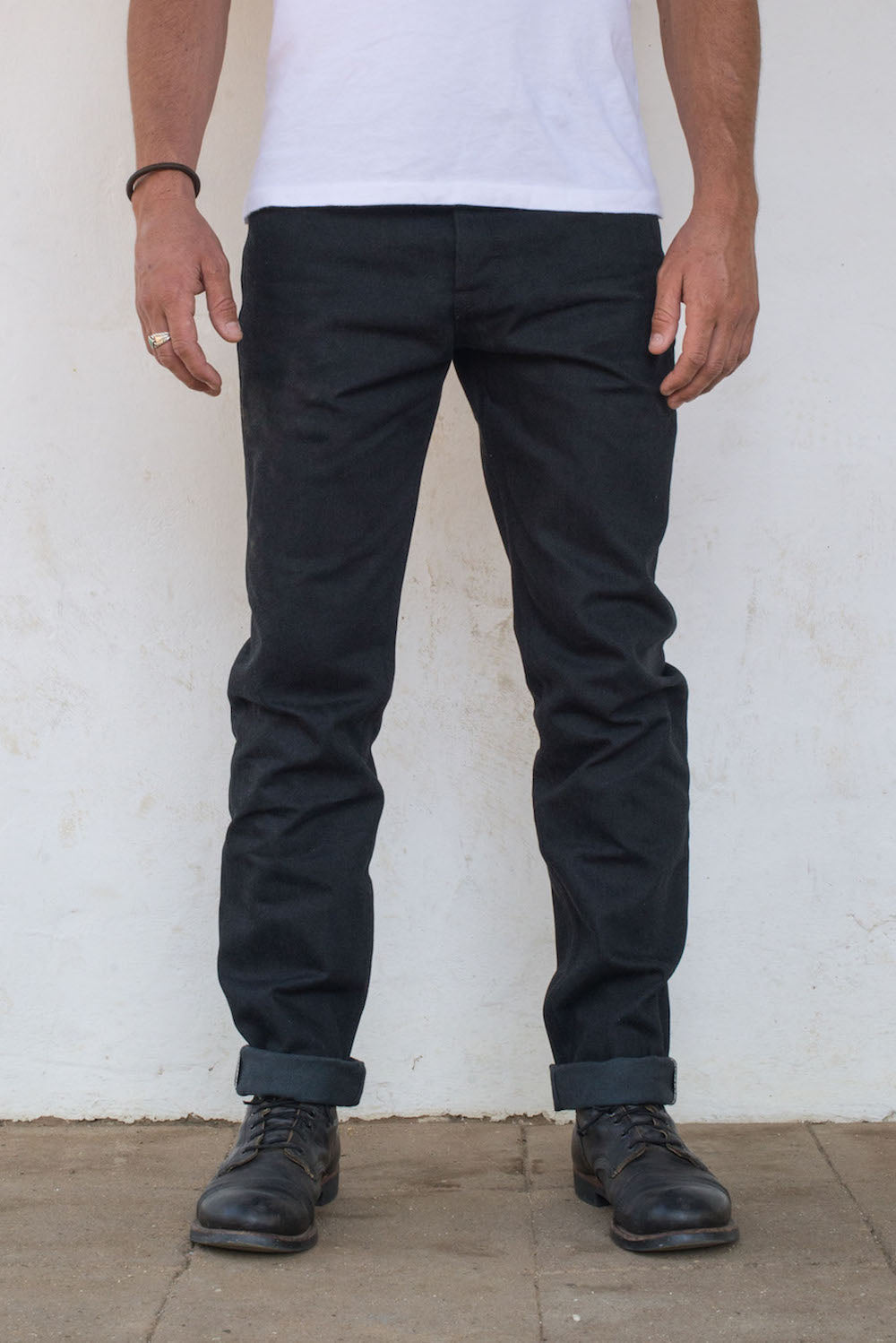 Portola Taper Raw 14.25 oz Black Grey Japanese Denim On Model Front Side