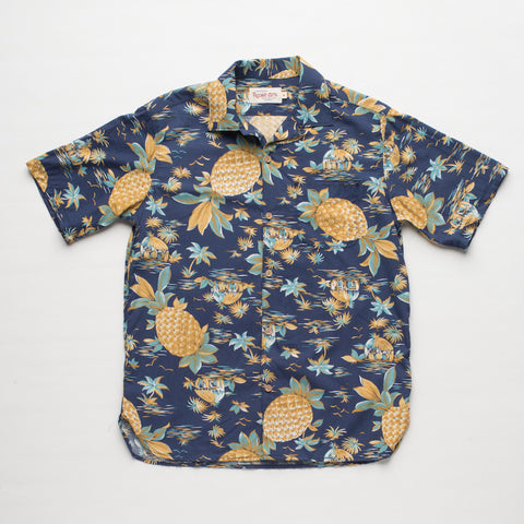 Freenote Cloth | Hawaiian Short Sleeve - Pineapple Blue | $160